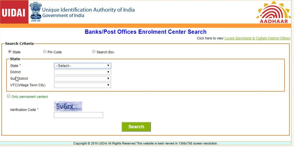 search aadhar enrollment service centers